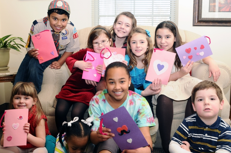 The kids made valentines in Sunday school and children's church, then hand-delivered them to men and women at a seniors' residence.