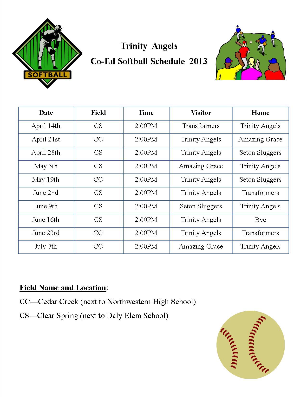 2013 Schedule flyer