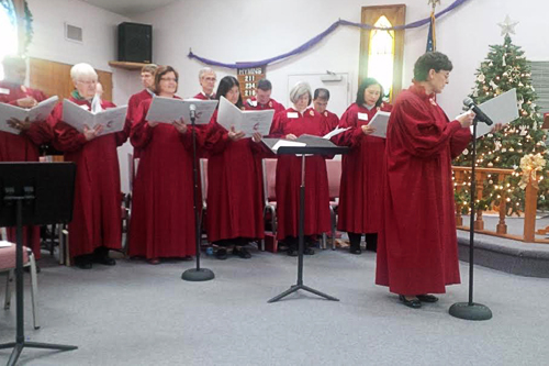 Choir group singing
