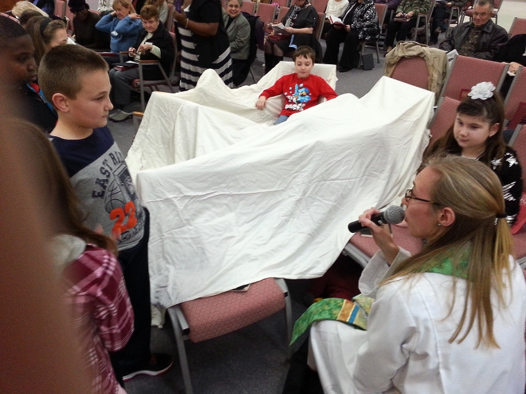 The fort the kids built in church