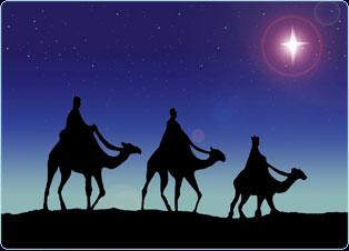 Drawing of three men riding camels.