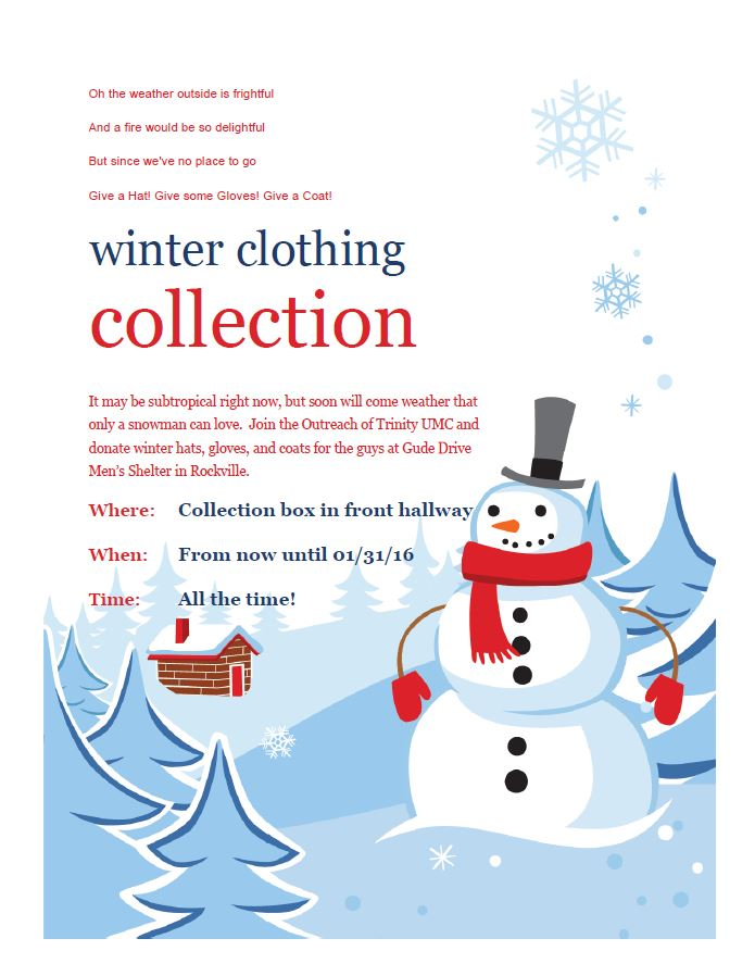 Flier announcing drive to collect clothing for the needy